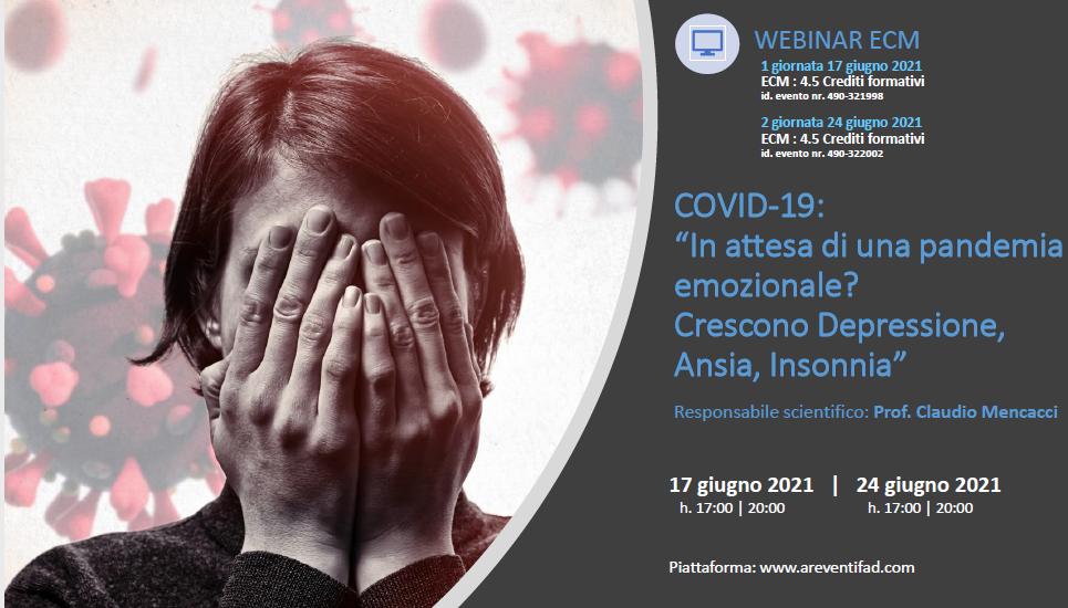 """Course Image Covid-19: """"In attesa di una pandemia emozionale? Crescono Depressione, Ansia, Insonnia"""" - 1 Giornata"""
