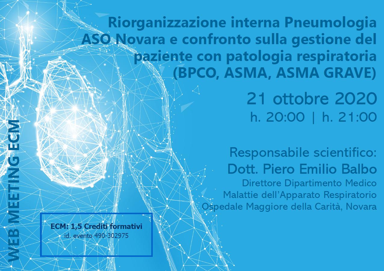 Course Image Riorganizzazione interna Pneumologia ASO Novara e confronto sulla gestione del paziente con patologia respiratoria